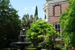 Charleston SC Calhoun Mansion garden (neil.gilmour) Tags: sky brick green fountain garden calhoun balcony southcarolina historic charleston porch mansion charlestonsc portico