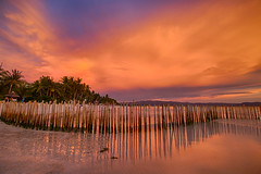 P I A N O (migo_santos) Tags: blue sunset sea seascape beach canon landscape sand rocks bamboo hour boracay ultrawide hue hdr uwa seascap 760d