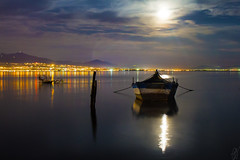 Serene Night (pap-x) Tags: sea moon nature water night canon landscape boat fishing long exposure outdoor wide greece moonlight 550d kalochori