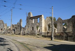 Oradour-sur-Glane, France (wells117) Tags: holiday france building town wire war post sony rails worldwar tramlines a100 worldwartwo 2014 limoge burnttotheground clivewells