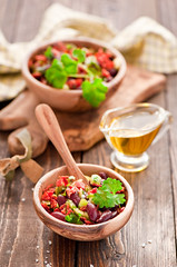 chorizo and haricot salad (The Little Squirrel) Tags: salad chorizo haricot