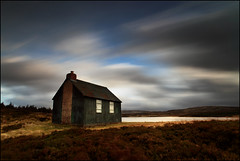 Lochan Hut (angus clyne) Tags: road uk travel autumn cloud sun mountain lake storm tree art fall water rain forest canon print lens landscape climb scotland moving high fishing europe long exposure angle wind time path heather hill wide perthshire picture scottish highland hut photograph 5d shack 20mm loch moor bog kenmore windo lochan iorn expolore colorphotoaward
