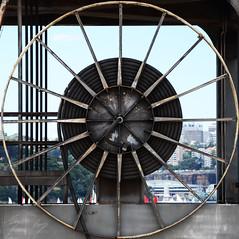 Crane Wheel squared (Mr Clicker / Davin) Tags: street art island graffiti nikon mr harbour sydney australia davin squaredcircle cockatoo naval convict clicker outpost exhibiton 2011 hertige d7000