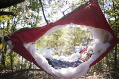 (alexis mire) Tags: red selfportrait art clouds canon 50mm14 cotton hammock remote spt polyfil 5dmkii alexismire