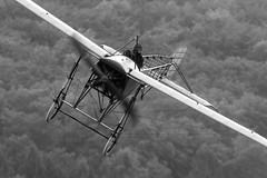 """Thulin (Huw Hopkins LRPS Photography) Tags: show autumn summer bw white black classic monochrome forest plane vintage germany photography fly flying display aircraft aviation air carlson unter monotone 11 aeroplane historic september airshow oldtimer machines teck huw hopkins flyin bleriot mikael kirchheim xi carlsons in """"black white"""" 2011 hahnweide monoplane a thulin kirchheimunterteck fliegertreffen"""