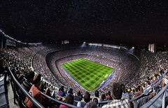 Camp Nou - 3rd version (43 Megapixels) (RiOTPHOTOGRAPHY.com) Tags: barcelona sky club photoshop stars football spain barca fav50 stadium edited soccer bcn creative fav20 catalonia estadio stadion futbol fav30 campnou bara fcbarcelona noucamp fav10 fav40 futbolclubbarcelona cs5 flickraward msqueunclub