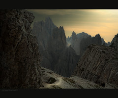 Tre Cime di Lavaredo 2. (J.M.Fransen (jero 053)) Tags: light italy alps photoshop landscape photography evening photo italian europe mood view image curves ngc surreal explore valley process tones lunar golem moonscape lumires formations lightroom desolated magnification lightfall morningdawn