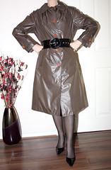 SHINY SLIPPERY NYLON MAC (sheerglamour) Tags: leather fetish fur belt mac heels satin nylon
