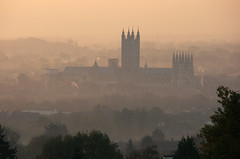 Hazy Cold Dawn, Autumn, Canterbury Cathedral from University of Kent (Jim_Higham) Tags: christmas england kent education calendar canterbury card excellent further he excellence ubiversity