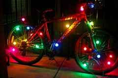 I put up my Christmas Bike tonight... (Pixeltopia) Tags: christmas xmas bike christmaslights birdgirl christmasbike
