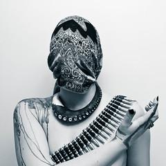 embellishment ii (Portal Worship) (Roxana Xenia) Tags: portrait white black metal scarf ink belt arm leg jewellery embellishment octopus fingernails bullet decor tentacles decorated ornated
