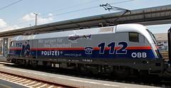 Linz Hauptbahnhof (austrianpsycho) Tags: train linz engine siemens eisenbahn railway zug bahnhof hauptbahnhof locomotive wtf werbung taurus bahn 112 hbf polizei bb 2500 lokomotive lok oebb elok 1116 elektrolok elektrolokomotive linzhbf linzhauptbahnhof 11162500