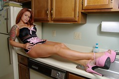 Sexy Redhead Maid (lilbitrisque) Tags: pink red black hot sexy ass kitchen beautiful tattoo panties ink pose naughty costume model breasts tits play legs modeling gorgeous curves posing babe lingerie tattoos redhead cleaning apron clean fantasy thong hottie lovely tease rubbergloves tat maid playful teasing kinky hotty tats voluptuous dcups
