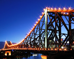 Story Bridge (fredfunk05) Tags: city bridge blue night river dusk australia brisbane story bluehour storybridge brisbanecity d60 storeybridge brisbaneskyline brisbanedusk