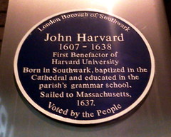 Photo of John Harvard blue plaque