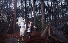 The Forest of Lost Treasure (Rob Woodcox) Tags: trees red green clock beauty smile pine kids forest umbrella silver children wonder lost happy mirror book key treasure dream large surreal imagination oldfashioned trinkets robwoodcox robwoodcoxphotography