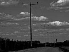Unter Strom (Joerg Marx) Tags: road bw power pylon strom hochspannungsmast strase