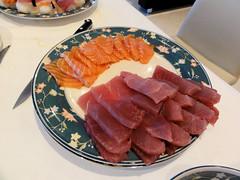 Christmas Sushi (Sashimi  ) (MinkBlue) Tags: christmas food fish cooking sushi raw sashimi knife salmon plate drinks and tuna  minkblue