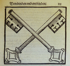 Woodcut illustration depicting the crossed key...