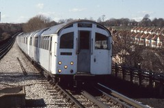 London Transport . 1956 Tube Stock 1007 . Approaching  Brent Cross  Station . 23rd-March-1979 . (AndrewHA's) Tags: electric train birmingham experimental stock railway line prototype emu londonunderground 1956 northern trial brentcross londontransport 1007 multipleunit railwaycarriagewagon