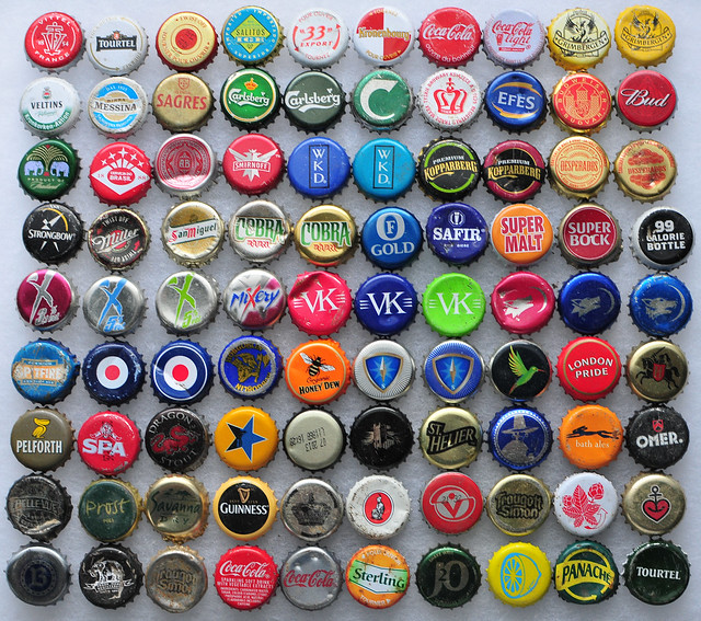British and French Found Bottle Caps