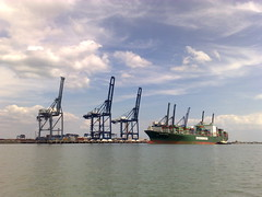 Container ship at Thamesport (suvodeb) Tags: sea port docks sailing ship cargo cranes containers loading freighter thamesport