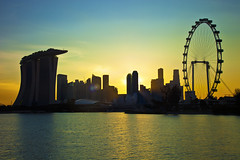 Singapore 2012 Countdown Cityscape Silhouette (Kenny Teo (zoompict)) Tags: sunset reflection water silhouette landscape evening yahoo google scenery cityscape view kenny singaporeriver marinabay gardensbythebay marinabaysands singaporeflyers zoompict singaporelowerpiercereservoir