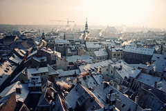 Old Town Sunrise (ewitsoe) Tags: city morning snow cold frozen nikon europe day prague pra praha czechrepublic 20mm decemeber