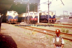 WCM2 , WCAM3, WCM5 near vidya vihar loco shed near kurla LTT terminus   and thats me in 1999 (akshaypatil™ ® photography) Tags: 2 dc 5 central shed railway loco queen wcm deccan ltt 20180 deccanqueen wcam3 acloco vidyavihar wcm5 wcm2 wcmclasslocomotive wcam3andwcm5 wcam3andwcm2 indianrailwayrarecapture wcm2andwcm5