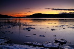 Drammens Fjord In January (B.AA.S.) Tags: travel winter light sunset sea seascape color ice nature water colors norway night canon dark landscape photography lights evening norge frozen is colorful frost quiet col