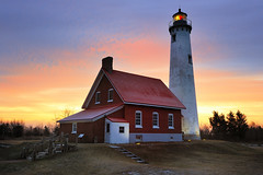 """Sunrise Side""  Tawas Point Lighthouse - East Tawas, Michigan (Michigan Nut) Tags: morning winter usa lighthouse nature sunrise geotagged photography midwest lighthouses michigan scenic landmark lakehuron tawaspointlighthouse"