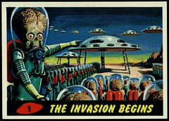 "Mars Attacks #1 ""The Invasion Begins"" (cigcardpix) Tags: mars vintage advertising comic graphic ephemera fantasy horror sciencefiction attacks reprint tradecards gumcards"