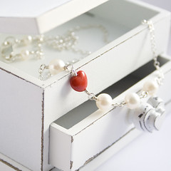 Valentine Heart Accent Necklace (Poppy Sparkles) Tags: red hearts heart romance jewellery pearl redheart valentinesday handmadejewellery valentinesdaygifts sterlingsilverjewellery romanticjewellery poppysparkles