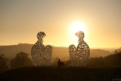 Speigel by Juame Plensa, Yorkshire Sculpture Park (tricky (rick harrison)) Tags: uk winter sunset sculpture yellow unitedkingdom frosty wakefield westyorkshire 2010 ysp yorkshiresculpturepark plensa speigel juameplensa