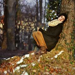 (laura zalenga) Tags: park light woman tree me nature girl graveyard self munich square dawn calm dreaming nikond5000 ©laurazalenga