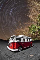 LEGO VW Campervan ([Nocturne]) Tags: trees light red white lightpainting vw stars paint lego campervan vwcampervan legobricks lightphotography wwwnoctographycouk