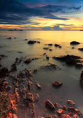 Golden Soul (Explored #14) (Fakrul J) Tags: longexposure sunset seascape rocks 14 slowshutter magichour portdickson explored leefilters fakruljamil wwwfakruljamilcom 18january2012