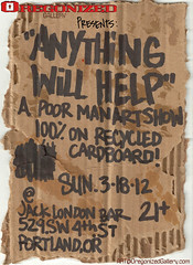 Oregonized Gallery Presents Anything Will Help (SKAM sticker) Tags: streetart art oregon poster portland stickers cardboard installation downtownportland 2012 slaps barshow commissions getdrunk greasey anythingwillhelp poormansartshow stickerinstallation visualassaultcrew