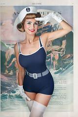 (Bitchvonkicz) Tags: ocean sea fun gloves blond hosiery sailor pinup