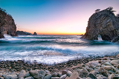 Rough Sea at Futo Beach (-TommyTsutsui- [nextBlessing]) Tags: longexposure blue winter light sunset sea sky orange seascape beach nature yellow rock japan landscape nikon purple dusk magic tide scenic wave shore  cave     islet izu    nishiizu sigma1020 stormysea onsalegettyimages