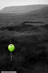 Alone on the Moor (quoonbeatz.) Tags: uk blue red colour art windmill smile field yellow canon project balloons landscape fun photography rebel countryside alone sad wind farm country hill balloon scout 200 xs moor desolate turbine 1000d