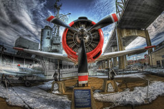 T-28 Trojan Trainer Plane (Frank C. Grace (Trig Photography)) Tags: color history museum clouds plane ma wings pentax massachusetts wwii navy fisheye trojan naval waterstreet hdr props 1017 fallriver t28 k7 battleshipcove bragabridge tonemapped trainerplane pentaxart trigphotography frankcgrace