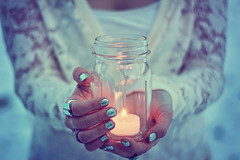 I gave you a wish in a jar (AmyJanelle) Tags: lighting blue light cold girl holding hands focus candle dof purple magic rings nails wishes jar highkey tones softtones bluetones coldtones nailpolis coldbluetones