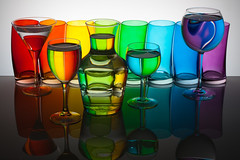 Rainbow Glasses (Franois Doroth) Tags: stilllife color reflection water glass colors reflections bottle rainbow eau bottles couleurs flash explore reflet refraction liquid reflets couleur verre arcenciel verres bouteille naturemorte liquide bouteilles explored strobist franoisdoroth francoisdorothe