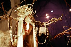 Stagette (Georgie_grrl) Tags: toronto ontario mannequin woods downtown branches feathers horns wig blonde pentaxk1000 braids queenstreetwest windowdisplay stagette fashioncrimes rikenon12828mm
