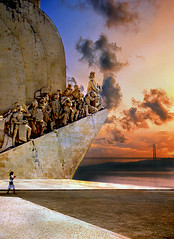 Sunset at the Monument to the Discoveries in Lisbon (h_roach) Tags: travel bridge sunset portugal monument statue vertical clouds europe lisboa lisbon historic christophercolumbus attraction iberianpeninsula monumenttothediscoveries ilustrarportugal