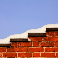 Red Bricks and Snow (PeteZab) Tags: nottingham uk greatbritain winter red england snow texture nature weather wall season bluesky canoneos50d petezab peterzabulis sigma1770f284dcmacroos