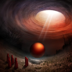 Newborn (Christophe Kiciak) Tags: light red sky orange vortex strange ball slick ray surreal sphere planet priests maelstrom apocalytpic