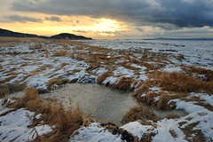 The Pond (RomImage) Tags: travel november winter sunset sun snow canada cold ice nature clouds frozen pond nikon warm quebec herbs north rude nobody qubec freeze land northamerica environment chilly 24mm nikkor lanscape harsh d800 gaspsie pce colcors vision:outdoor=0728