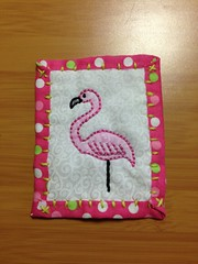 Flamingo Teesha Moore Inspired Patch (kiddomerriweather) Tags: pink bird panel embroidery flamingo inspired moore quilted colored crayons patch crayola teesha swapbot
